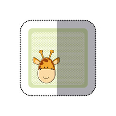 sticker colorful greeting card with picture giraffe animal vector illustration
