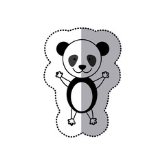 sticker colorful picture cute panda animal vector illustration