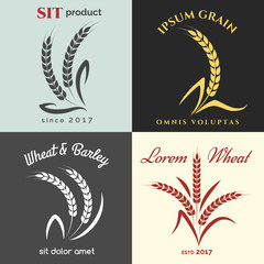 Ears of wheat logo set for bakery. Premium quality grains product labels vector illustration