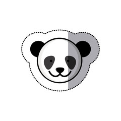 sticker colorful picture face cute panda animal vector illustration