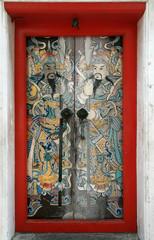 painted Asian warriors door