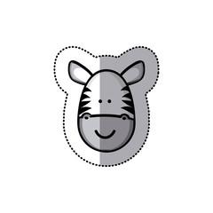 sticker colorful picture face cute zebra animal vector illustration