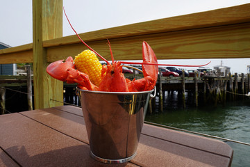 Lobster in a metal bucket served outdoor with corn in informal setting