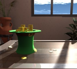 3d three-dimensional, composition of green hats, gold coins, and green clover.
