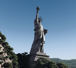 3d three-dimensional, Statue of Liberty in the mountains