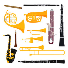 Musical wind instruments isolated on white background blow blare studio acoustic and shiny musician equipment orchestra trumpet vector illustration.