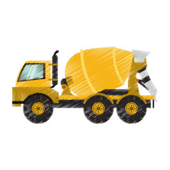 cement truck heavy construction machinery icon image vector illustration design
