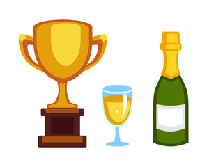 Vector trophy champion cup and champagne bottle flat icon. Winner trophy award and victory prize. Sport success and best win golden leadership award competition illustration.