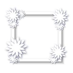 Floral frame. White decorative paper flowers on white frame