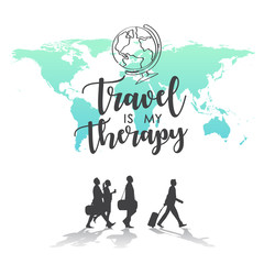 Travel is my Therapy world map background