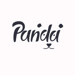 Modern hand drawn lettering word Panda.