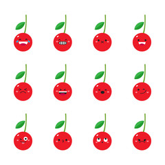 Cherry modern flat emoticon set