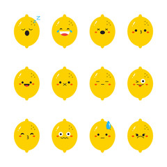 Lemon modern flat emoticon set