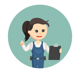 mechanic girl with clipboard in circle background