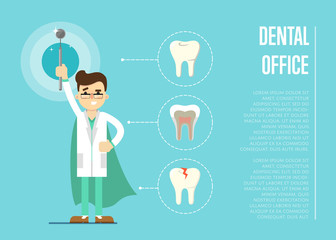 Male cartoon dentist in medical uniform and superhero green cape holding dental mirror on blue background with teeth round icons, vector illustration. Dental office banner. Oral hygiene, tooth health
