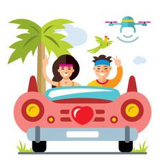 Vector Honeymoon on the retro car. Flat style colorful Cartoon illustration.