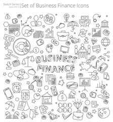 Hand Drawn Business and Finance icons. Vector Illustration of large set of Business and Finance icons and doodles. Hand Drawn Sketch Style.