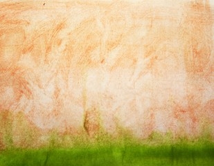 Watercolor orange beige and green simple background