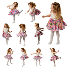 Cute little girl sing song and is dancing isolated on white
