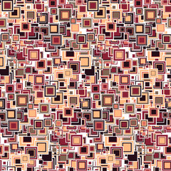 Abstract geometric seamless pattern. The squares of different sizes and colors arranged in random order. Design element.