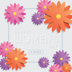 International Women's Day greeting card template design with emboss text & flowers on white background. 8 march vector illustration.