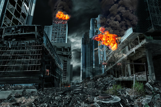 Cinematic Portrayal of Destroyed City