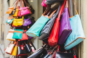 Colorful Leather Purses in Italian Shop