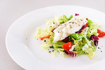 fish with salad