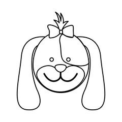 figure face dog ribbon bow head icon, vector illustation design image