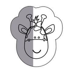 contour face giraffe ribbon bow head icon, vector illustration design image