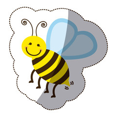 color bee icon stock, vector illustration design image