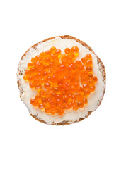 Round sandwich with butter and caviar on a white background