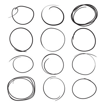 Set of the hand drawn scribble circles. Vector element. Illustration on white background.
