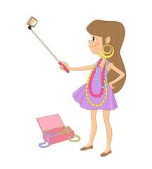 Изолированное изображение маленькой девочки в сиреневом платье, которая надела на себя бусы и серьги из шкатулки для украшений её матери и делает селфи при помощи телефона и селфи-палки.