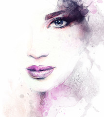 Autocollant pour porte Portrait Aquarelle Woman face. Fashion illustration. Watercolor painting