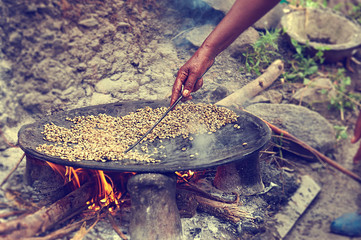 Traditional Ethiopian coffee beans roasting