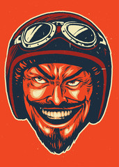 Hand drawing of devil wearing motorcycle helmet
