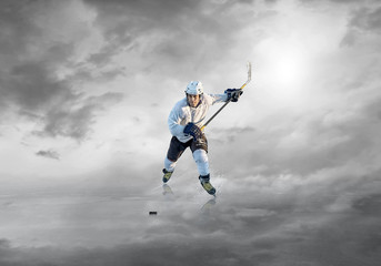 Ice hockey player in action outdoor