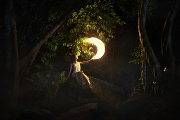 Fairy tale with woman and moon
