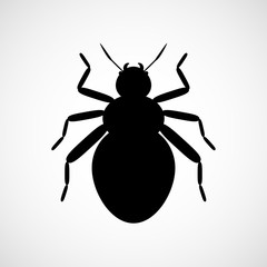 Abstract vector beetle. Black and white icon