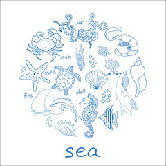 Hand drawn sea doodle Icons collection on white background. Vector illustration