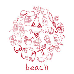 Hand drawn travel, vacation, beach doodle Icons collection on white background.