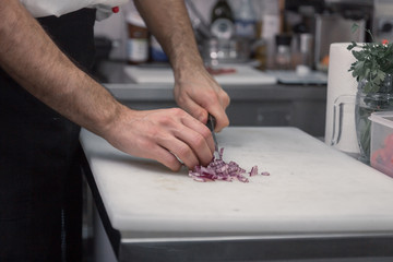 chef cutting onions, cutting board, closeup