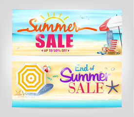 Summer Sale Banners in a beach Background. Vector illustration.