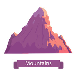 "Vector cartoon image of big pink mountain with three peaks on a white background. Nature, climbing, background. Vector illustration. Banner with inscription ""Mountains""."