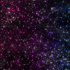 Abstract vector cosmic galaxy background with nebula, stardust, bright shining stars, and geometric pattern.