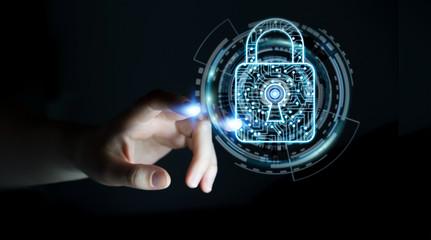 Businesswoman using digital padlock to secure her datas 3D rendering