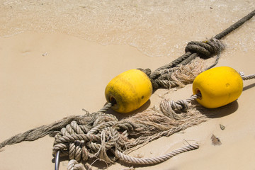 old rope with bouy recue