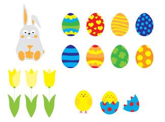 elementy wielkanocne: zając, pisanki, tulipany, kurczak / zestaw wektorów dla dzieci