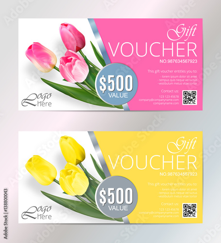 Gift Voucher Template Set With Tulips Flowers Cute Gift Voucher